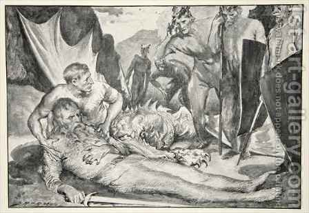 The Death of Beowulf by (after) Bacon, John Henry Frederick - Reproduction Oil Painting