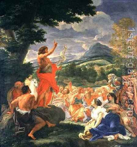 St. John the Baptist Preaching by Il (Giovanni B. Gaulli) Baciccio - Reproduction Oil Painting