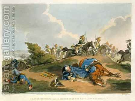 Prince Blucher under his Horse at the Battle of Waterloo by (after) Atkinson, John Augustus - Reproduction Oil Painting