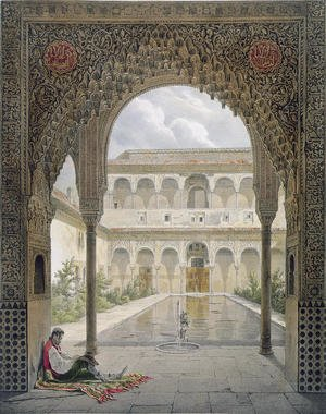 Famous paintings of Pools: The Court of the Alberca in the Alhambra, Granada