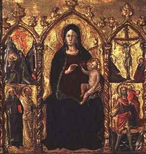 Cola da Camerino Arcangelo di reproductions - Triptych Madonna and Child (central panel) with Saints and a scene of the Crucifixion