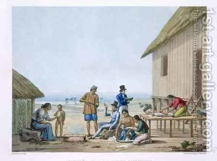 Domestic occupations, Agagna, Guam, Philippines, from 'Voyage Autour du Monde (1817-20) by (after) Arago, Jacques Etienne Victor - Reproduction Oil Painting