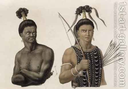 Natives of the Island of Ombai, from 'Voyage Autour du Monde sur les Corvettes de L'Uranie 1817-20' by (after) Arago, Jacques Etienne Victor - Reproduction Oil Painting