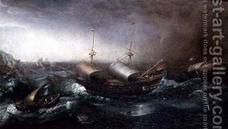 Dutch Merchant Vessels and a Smalschip Accompanied by Dolphins in Heavy Seas by Aert van Antum - Reproduction Oil Painting