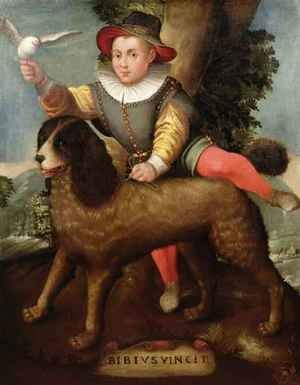 Mannerism painting reproductions: Boy and Dog, 'Bibius Vincit'
