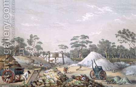 The Kapunda Copper Mine, from 'South Australia Illustrated' by (after) Angas, George French - Reproduction Oil Painting