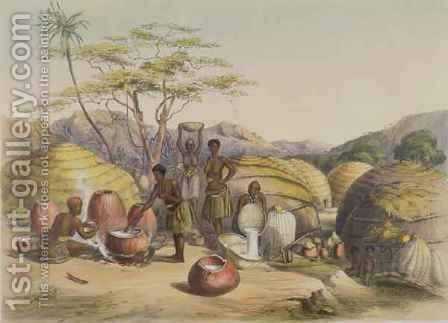 Gudu's Kraal at the Tugala, Women making Beer by (after) Angas, George French - Reproduction Oil Painting