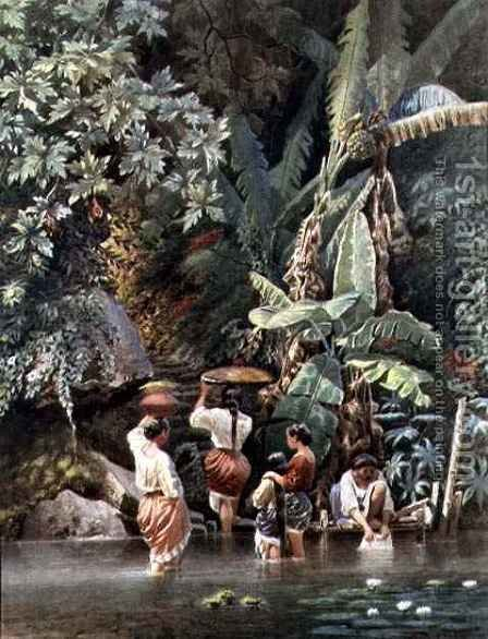 Philippino Women Washing Beneath a Banana Tree by C. W. Andrews - Reproduction Oil Painting