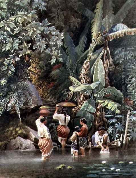 Huge version of Philippino Women Washing Beneath a Banana Tree