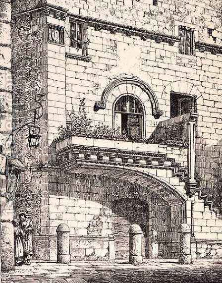 House of Santa Rosa, Viterbo, Italy, from 'Examples of the Municipal, Commercial, and Street Architecture of France and Italy from the 12th to the 15th Century' by (after) Anderson, R. - Reproduction Oil Painting
