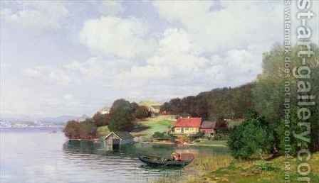 Boating on a Lake by Anders Andersen-Lunsby - Reproduction Oil Painting