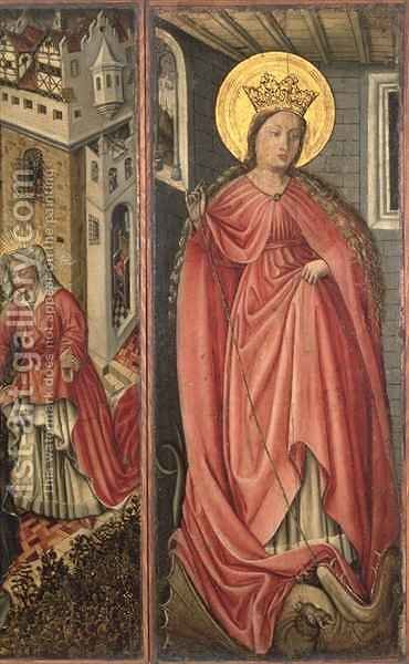 St. Margaret, right hand panel of polyptych by (after) Jost Amman - Reproduction Oil Painting