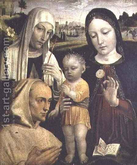 Madonna and Child with St. Catherine by Ambrogio da Fossano (Il Bergognone) - Reproduction Oil Painting