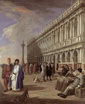 Famous Paintings in Ashmolean Museum, Oxford, UK: The Piazzetta and the Library 1720s