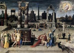 Mannerism painting reproductions: Augustus and the Sibyl 1575-80