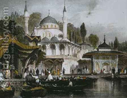 The Mihrimah Sultan mosque at Uskudar, on the Anatolian shore of the Bosphorus, facing Istanbul by Allote - Reproduction Oil Painting
