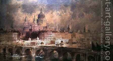 Design for the Thames Embankment, view looking downstream by Allote - Reproduction Oil Painting
