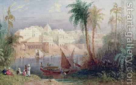 A View of an Indian city beside a river, with boats on the river and figures in the foreground by Allote - Reproduction Oil Painting