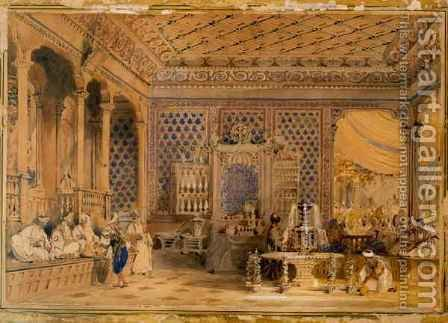 Interior of a Turkish Caffinet, Constantinople by Allote - Reproduction Oil Painting