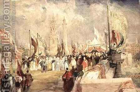The Opening of London Bridge by King William IV and Queen Adelaide on 1 August by Allote - Reproduction Oil Painting
