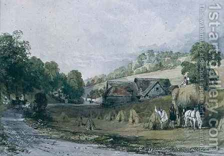 Haymaking at Ashurst, Surrey by Allote - Reproduction Oil Painting