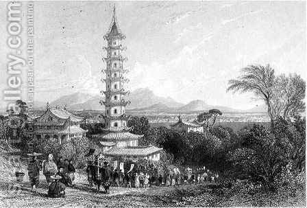 Porcelain Tower, Nanking by (after) Thomas Allom - Reproduction Oil Painting