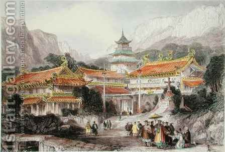 The Great Temple at Poo-Too, Chusan Islands by (after) Thomas Allom - Reproduction Oil Painting