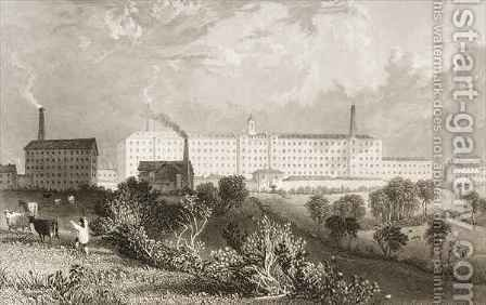 Swainson Birley and Co. factory near Preston, Lancashire by (after) Thomas Allom - Reproduction Oil Painting