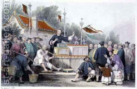 Raree Show at Lin-Sin-Choo, from 'China in a Series of Views' by (after) Thomas Allom - Reproduction Oil Painting