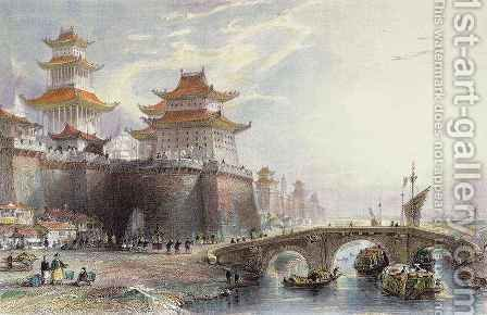 Western Gate of Peking by (after) Thomas Allom - Reproduction Oil Painting