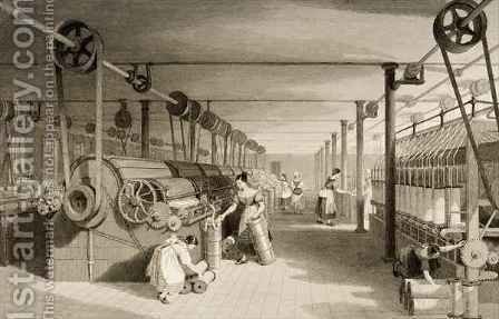 Carding, Drawing and Roving, Cotton factory floor by (after) Thomas Allom - Reproduction Oil Painting