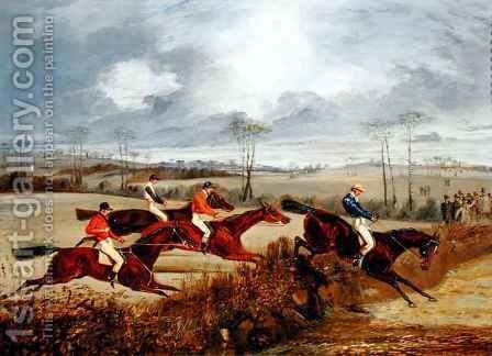 A Steeplechase, Near the Finish by Henry Thomas Alken - Reproduction Oil Painting