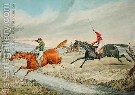 Steeplechasing Three Riders Taking a Brook by Henry Thomas Alken - Reproduction Oil Painting