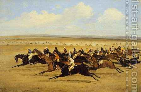 The 1850 Cambridgeshire Stakes The Start by Herny Jr Alken - Reproduction Oil Painting
