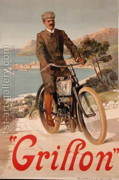 Poster advertising 'Griffon' Motorcycles by Hugo d' Alesi - Reproduction Oil Painting
