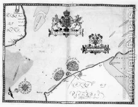 Map No.9 showing the route of the Armada fleet by (after) Adams, Robert - Reproduction Oil Painting