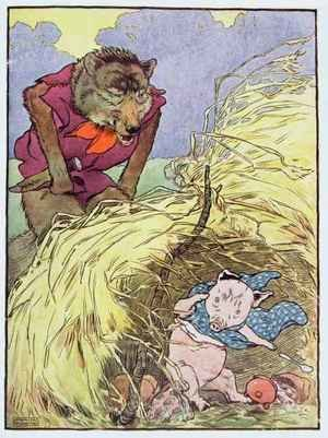 'So he huffed and he puffed till he blew the house of straw in', illustration from 'The Three Little Pigs'