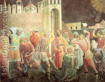 Stoning of Saint Stephen by Giusto Manzini Andrea di - Reproduction Oil Painting