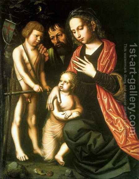 Holy Family with St John the Baptist as a Child by Ambrosius Benson - Reproduction Oil Painting