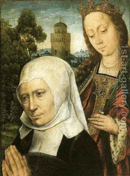 Donor with Saint Barbara by Aelbrecht Bouts - Reproduction Oil Painting
