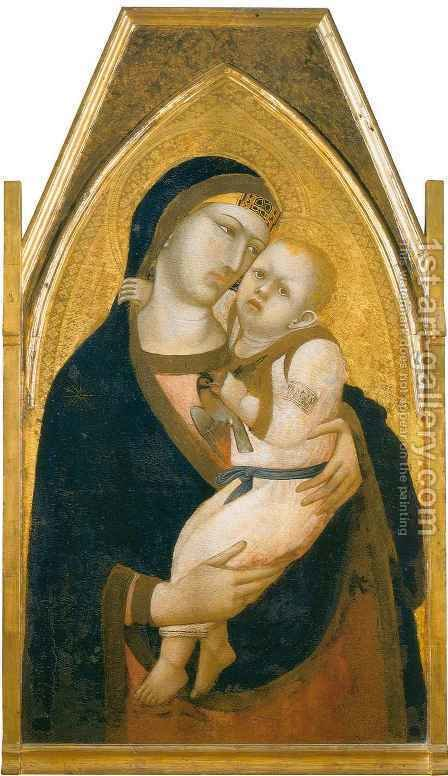 Madonna and Child Clutching a Goldfinch by Ambrogio Lorenzetti - Reproduction Oil Painting