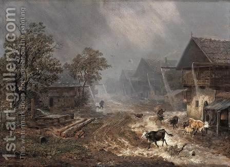 Rain Shower in Patenkirchen by Heinrich Bürkel - Reproduction Oil Painting