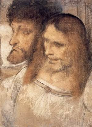 Reproduction oil paintings - Leonardo Da Vinci - Heads of Sts Thomas and James the Greater