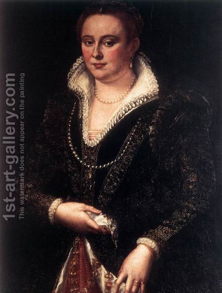 Portrait of Bianca Cappello by Girolamo Del Crocifissaio (see Macchietti) - Reproduction Oil Painting