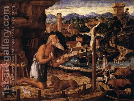 St Jerome in the Desert by Giovanni Mansueti - Reproduction Oil Painting