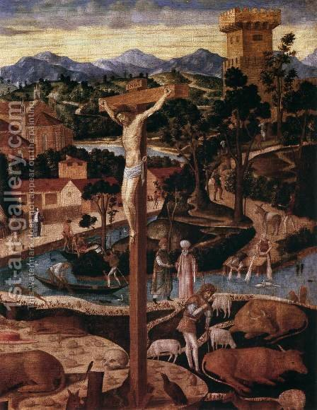 St Jerome in the Desert (detail) by Giovanni Mansueti - Reproduction Oil Painting