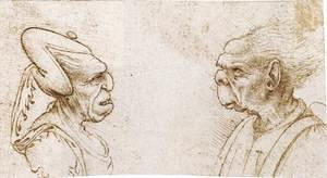 Famous paintings of Men: Two Grotesque Heads