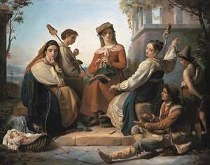 Reproduction oil paintings - Francois-Joseph Navez - Women Spinning in Fondi