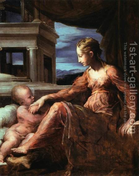 Virgin and Child by Girolamo Francesco Maria Mazzola (Parmigianino) - Reproduction Oil Painting