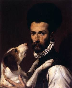 Famous paintings of Men: Portrait of a Man with a Dog